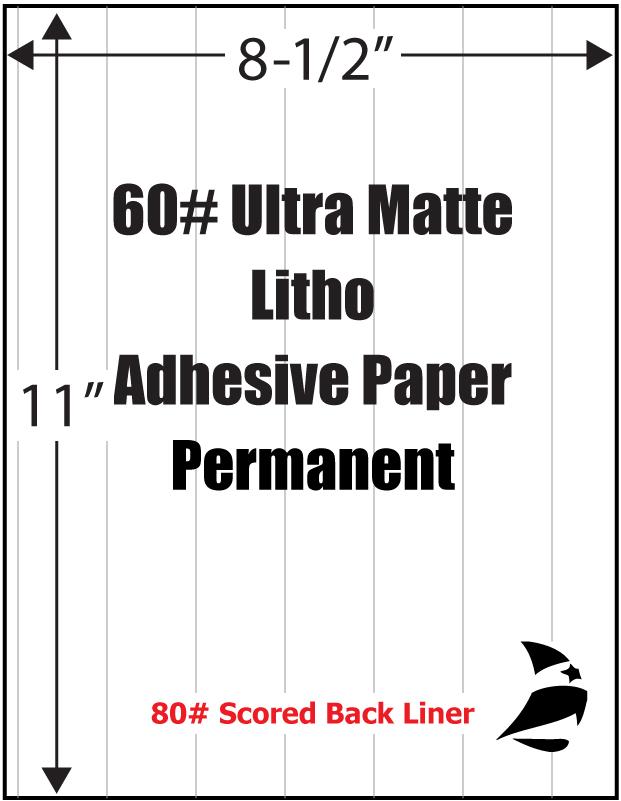 Ultra Matte Litho 60 Adhesive Paper 8 1 2 Quot X 11 Quot Scored
