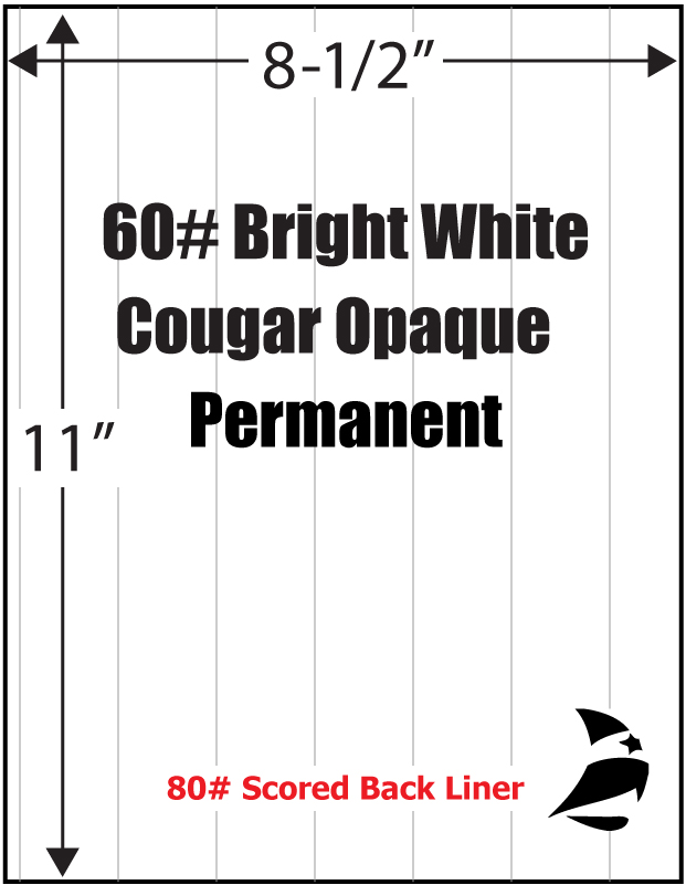 Bright White Cougar Opaque 60 Adhesive Paper 8 1 2 Quot X 11