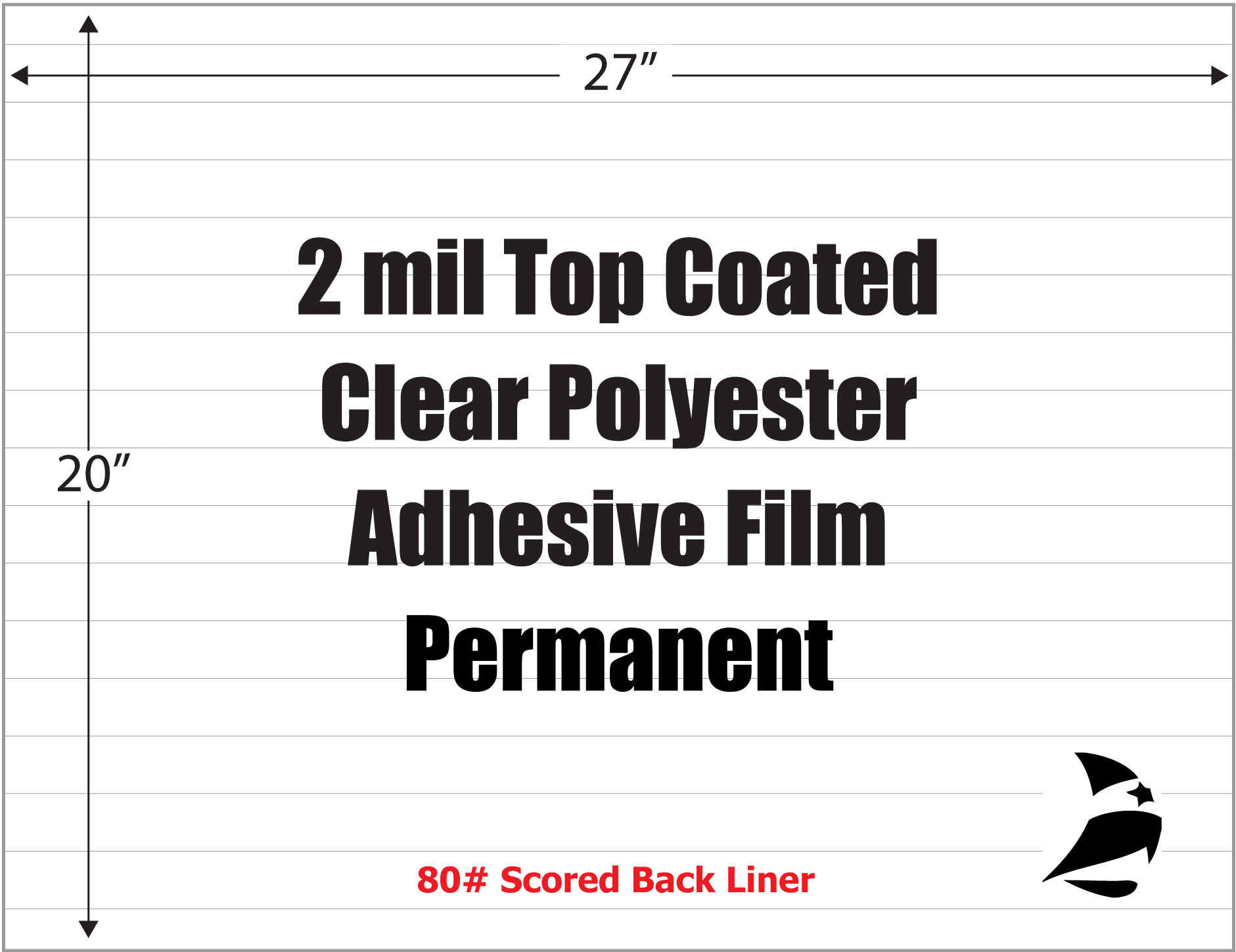 clear polyester 2 mil top coated adhesive film 27 x 20 zero split permanent 100 sheets. Black Bedroom Furniture Sets. Home Design Ideas