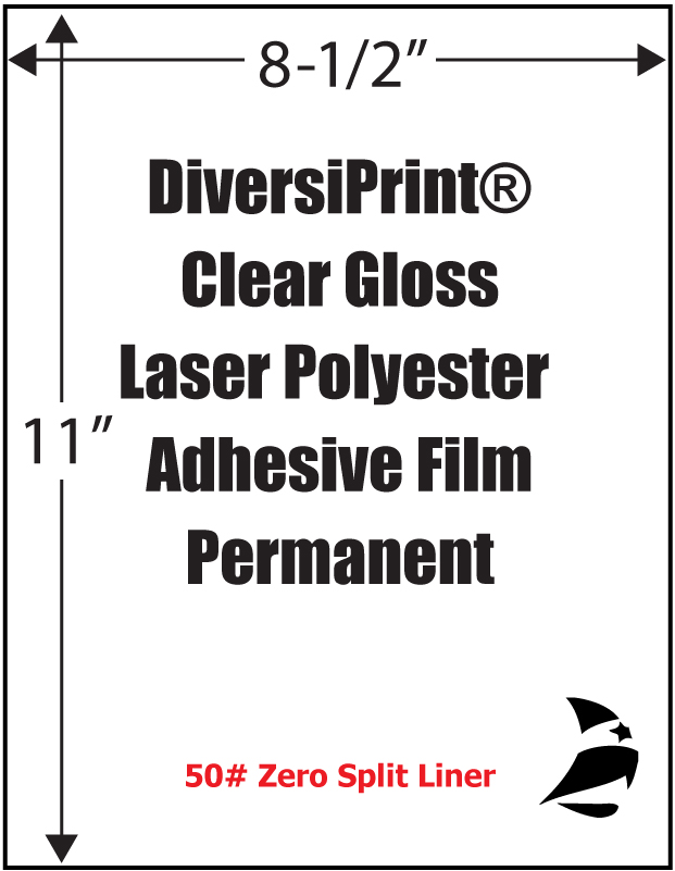 Diversiprint 174 Clear Gloss Laser Polyester Permanent Zero