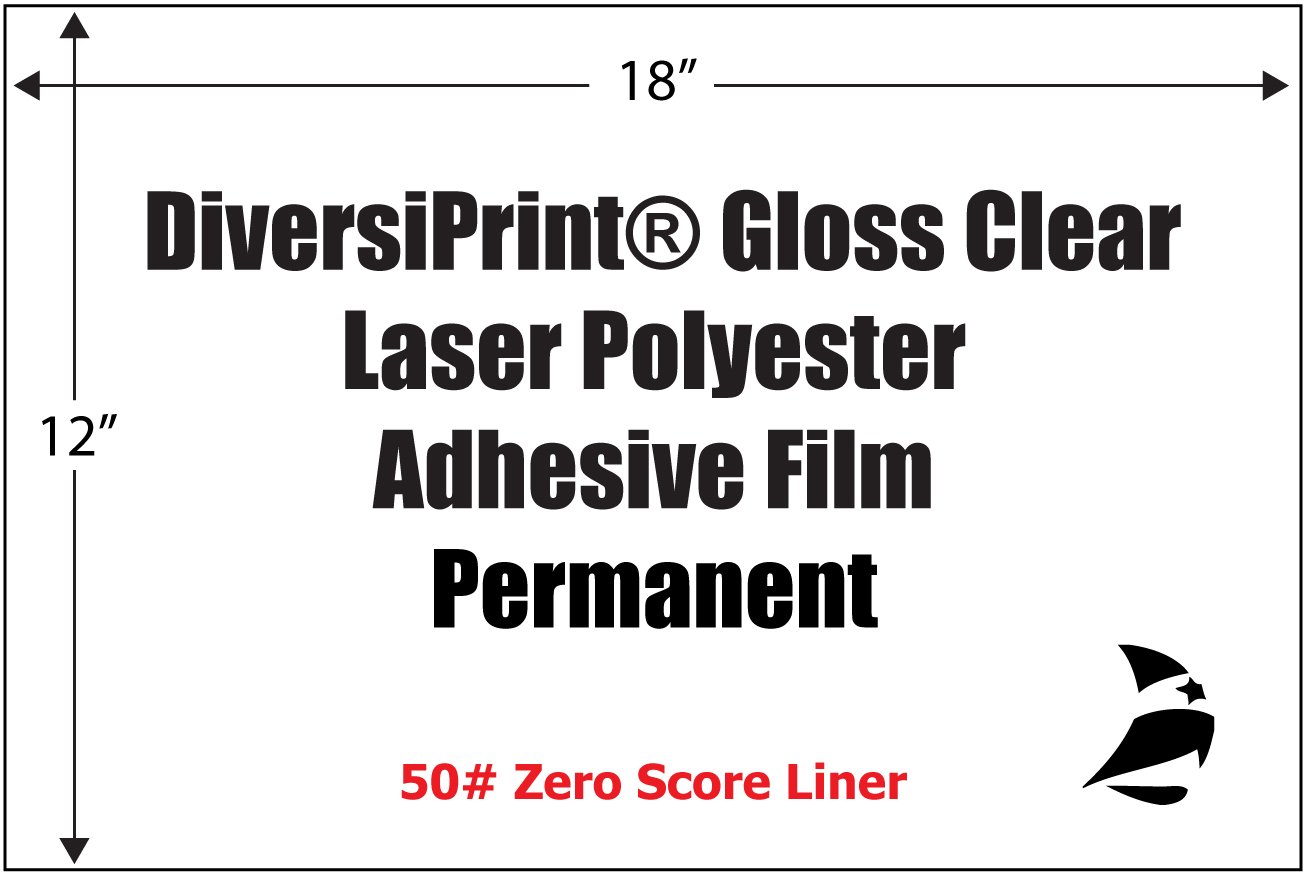Diversiprint 174 Gloss Clear Laser Polyester Adhesive Film
