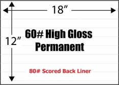 "60# High Gloss Adhesive Paper, 12"" x 18"", Permanent, Scored Liner, 100 Sheets"
