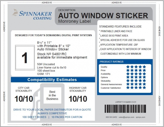 picture about Printable Window Sticker named Motor vehicle Window Sticker, Monroney, 8.5\