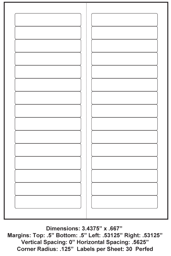 3 4375 X 667 30 Up 8 5 X 11 Adhesive Label Paper