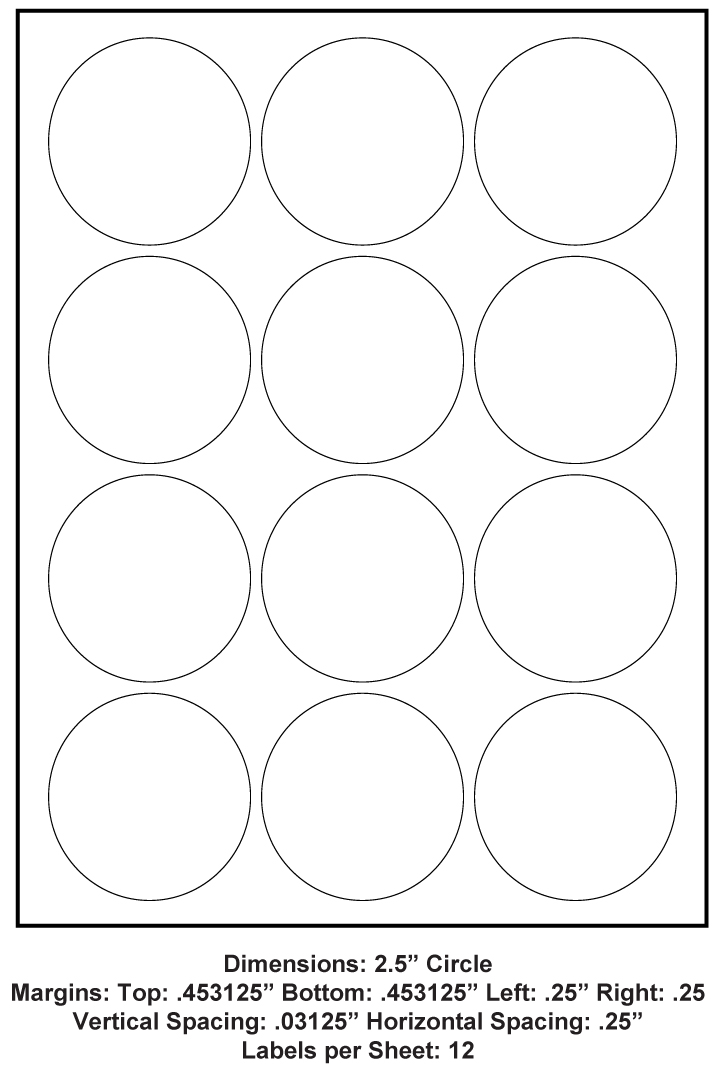 2 5 Inch Circle 12 Up 8 5 X 11 Adhesive Label Paper