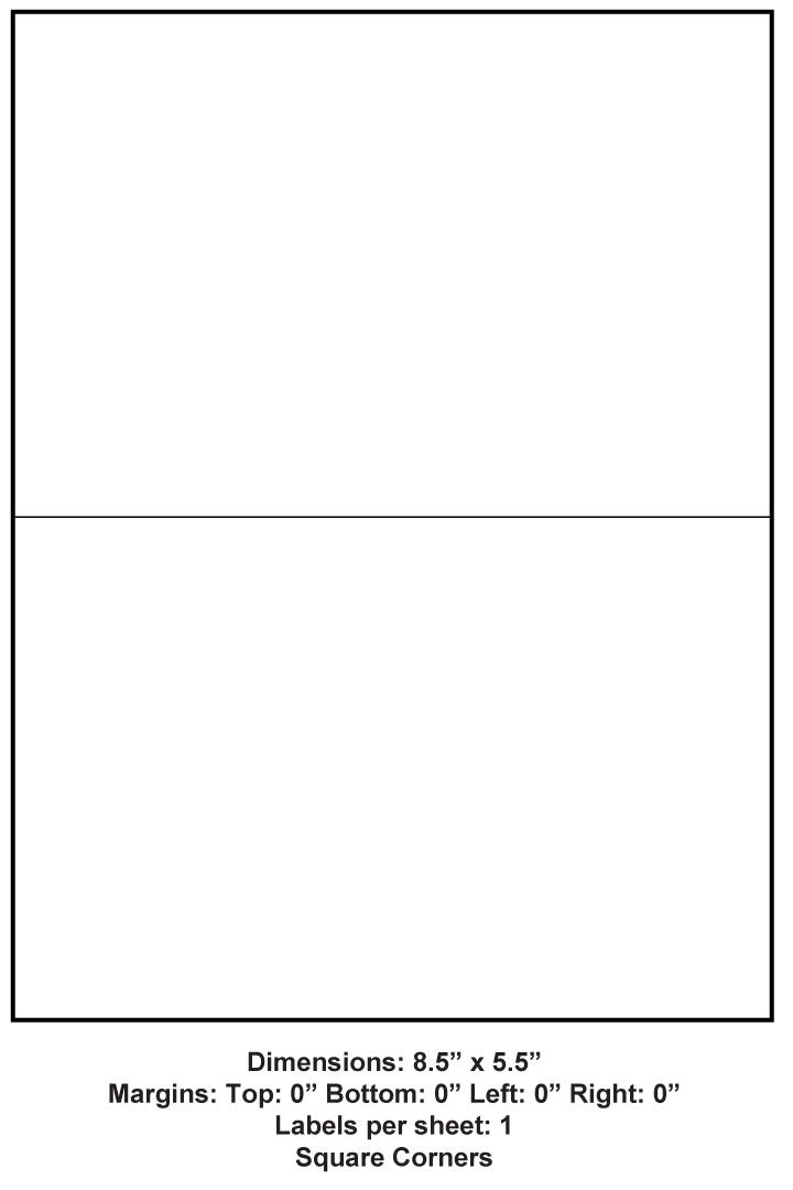 8 5 Quot X 5 5 Quot 2 Up Adhesive Label Paper 1 000 Sheets Per