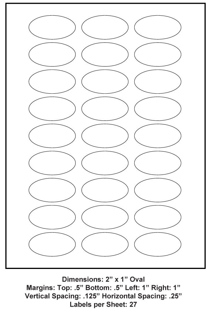 2 X 1 Oval 27 Up 8 5 X 11 Adhesive Label Paper 1 000