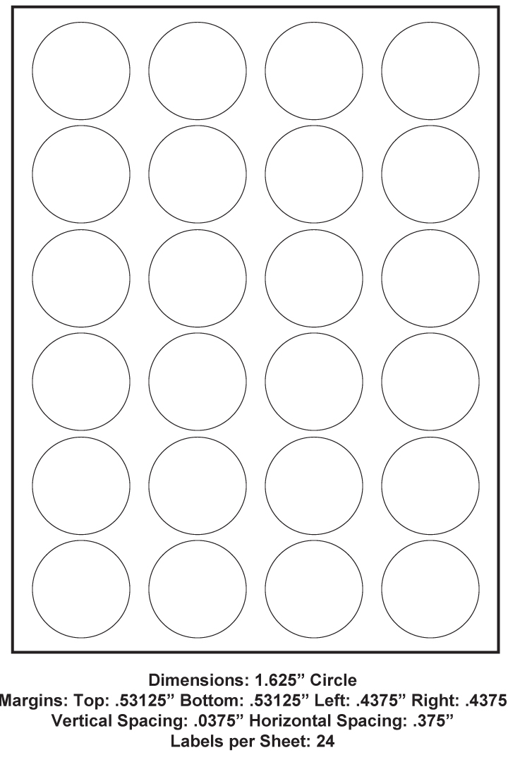 1 625 Inch Circle 24 Up 8 5 X 11 Adhesive Label Paper