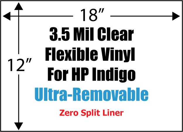 clear flexible 3 5 mil vinyl for hp indigo 12 x 18 ultra removable 80 zero split 100. Black Bedroom Furniture Sets. Home Design Ideas