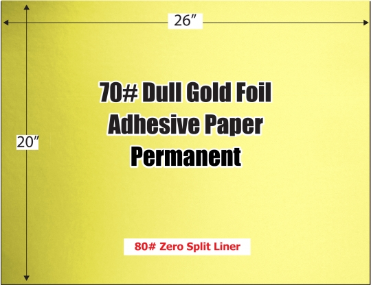 Dull Gold Foil 70# Adhesive Paper, 26