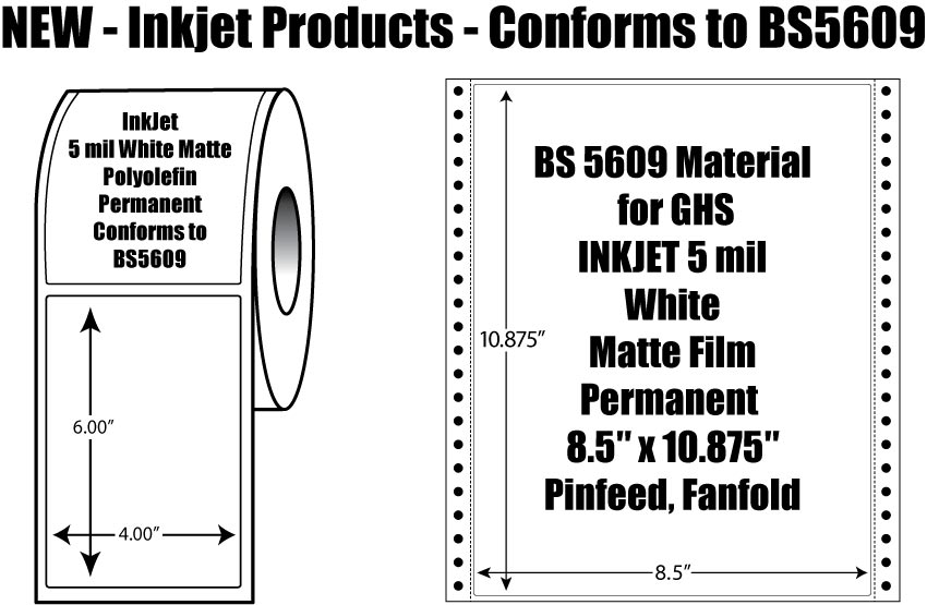 "NEW- BS 5609 Material for GHS INKJET 5 mil  White Matte Film Permanent  8.5"" x 10.875"" Pinfeed, Fanfold"