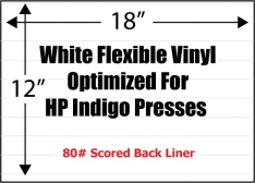 3.4 Mil White Flexible Adhesive Vinyl Optimized For HP Indigo Presses, Permanent, Scored, 100 Sheets